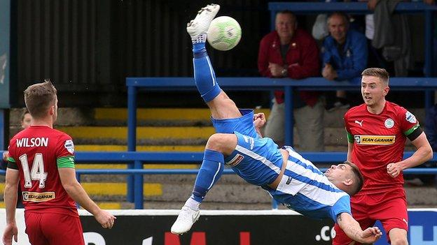 An audacious effort from Coleraine striker James McLaughlin against Cliftonville in August