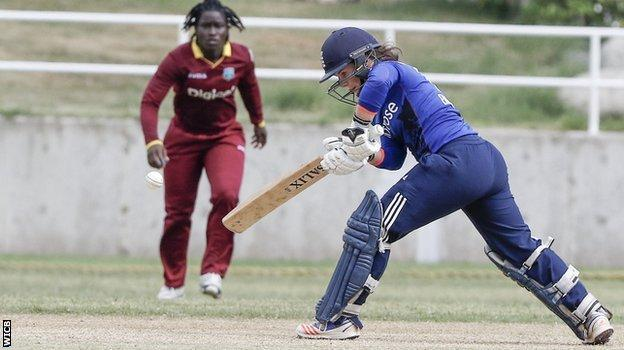 England's Tammy Beaumont plays a shot against the West Indies
