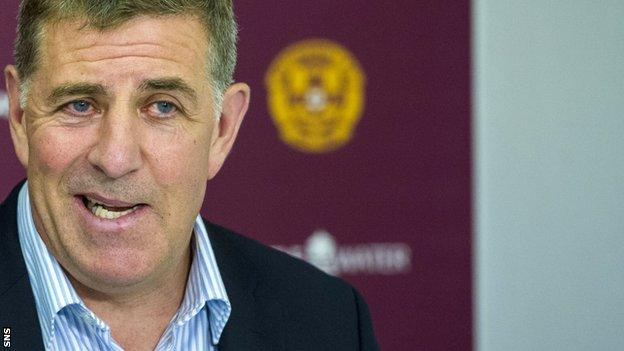 Motherwell manager Mark McGhee speaks to the media