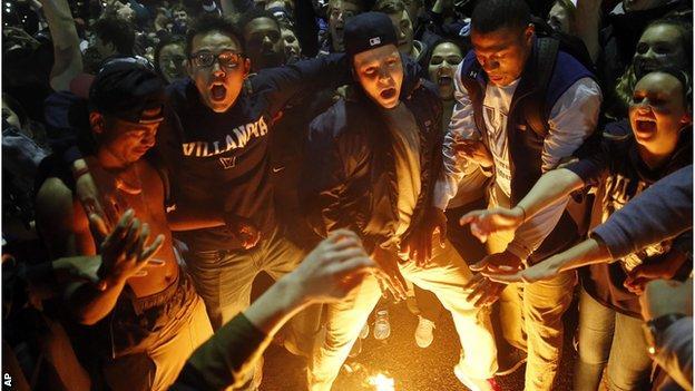 Villanova fans celebrate into the night