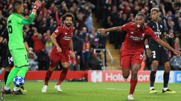 Daniel Sturridge celebrates scoring for Liverpool against Paris St-Germain in the Champions League