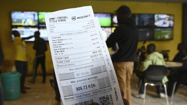 A betting receipt in a Kenyan betting shop