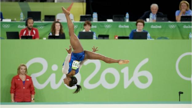 USA's Simone Biles in action during Floor Exercise of Women's Individual All-Around Final