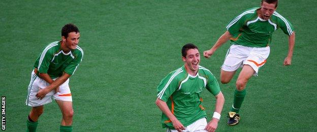 Ireland's seven-a-side Paralympics football team in action against Great Britain at London 2012