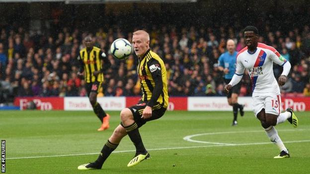 Watford midfielder Will Hughes in action against Crystal Palace