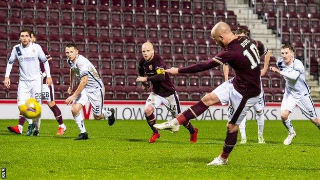 Liam Boyce hit the crossbar with his second attempt from the spot