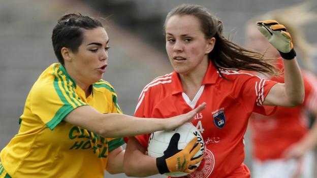 Donegal's Rose Boyle challenges Megan Sheridan of Armagh