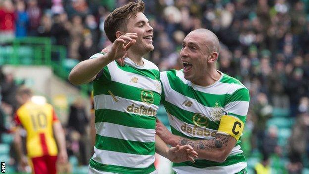 Celtic's James Forrest and Scott Brown