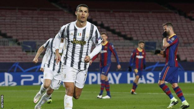 Cristiano Ronaldo celebrates after scoring for Juventus against Barcelona in the Champions League