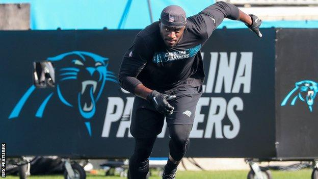 Efe Obada in a Carolina Panthers training session