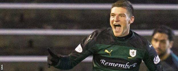 Raith Rovers' Ross Callachan celebrates his goal