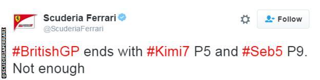Ferrari tweet