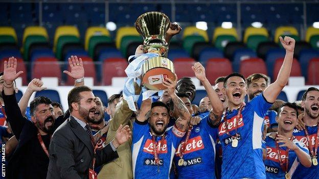 Napoli celebrate with the Coppa Italia trophy