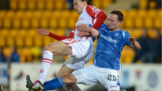 Ross County's Jackson Irvine (right) battles for the ball with St Johnstone's Chris Kane (left)