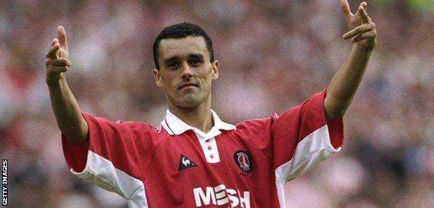 Charlton striker Clive Mendonca celebrates scoring a penalty in the shoot-out against Sunderland after the 1998 Division One play-off final