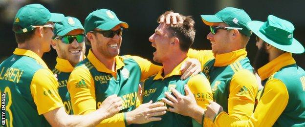 Dale Steyn celebrates a wicket
