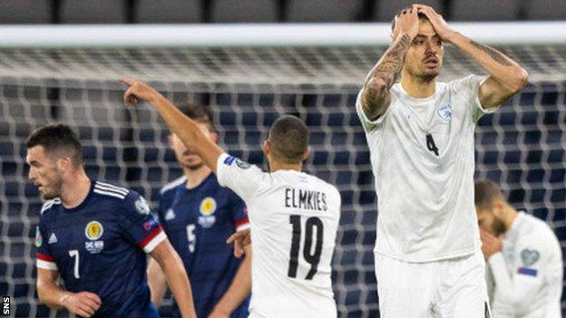 Israel midfielder Nir Bitton shows his frustration