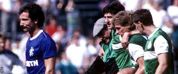 Graeme Souness after being sent off for Rangers against Hibernian