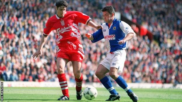 Jeff Kenna (right) played in Blackburn's final nine league games after signing from Southampton in March 1995