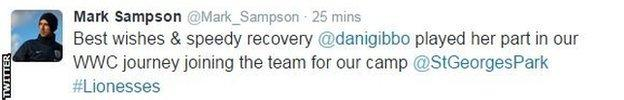 England head coach Mark Sampson tweeted his support to Gibbons