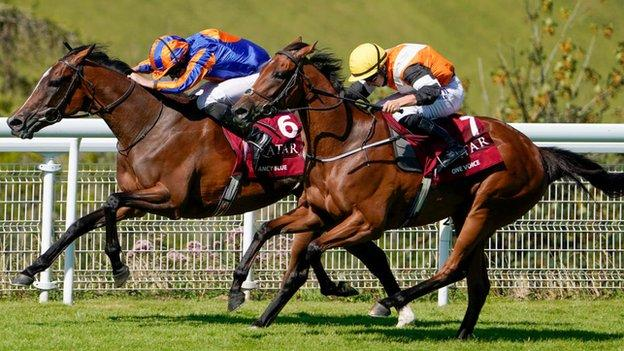 Fancy Blue completed a day three double for jockey Ryan Moore