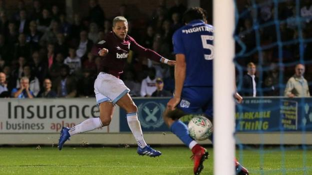 Javier Hernandez scores for West Ham at AFC Wimbledon in the Carabao Cup