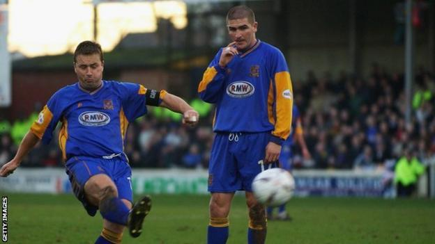 Nigel Jemson (left) scored both goals as Shrewsbury beat an Everton side containing 17-year-old Wayne Rooney 2-1 in the FA Cup third round at Gay Meadow in 2003.