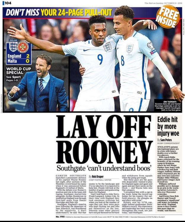 Mail on Sunday back page