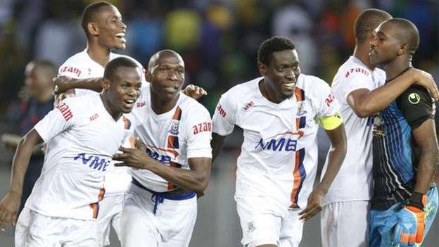 Azam FC players celebrate