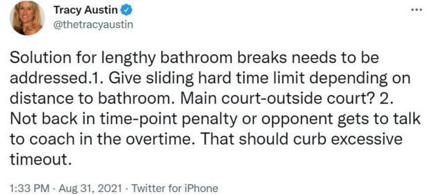 Sur Twitter, Tracy Austin propose une limite de temps pour les pauses bains