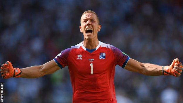 Hannes Halldorsson celebrates Iceland's first ever World Cup point