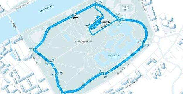 Route for Formula E race in Battersea