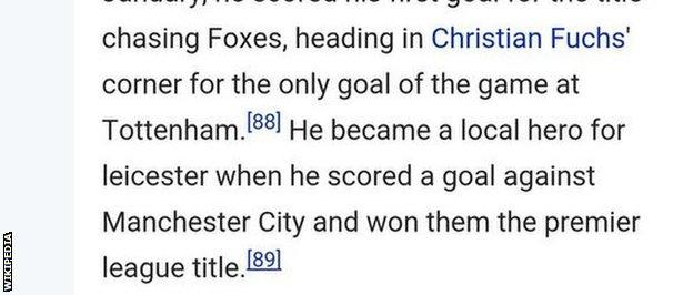Craig Ting spotted this addition to Robert Huth's Wikipedia page