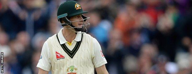 Adam Voges leaves the field after being dismissed
