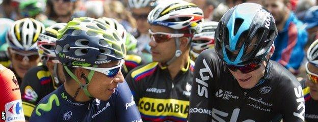 Nairo Quintana (left) and Chris Froome