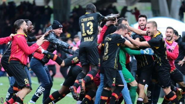 Benevento won promotion to Serie A through the play-offs