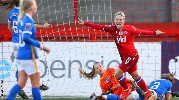 Jess Fishlock celebrates scoring for Reading