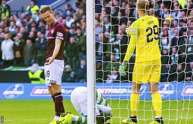 Hearts striker Steven MacLean and Celtic's Eboue Kouassi
