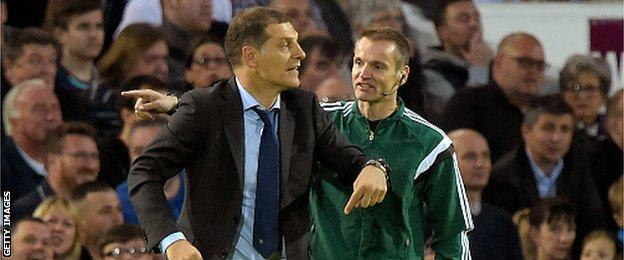 West Ham manager Slaven Bilic was sent from his technical area in the closing stages