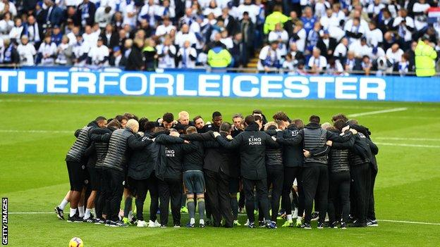 Leicester players and staff