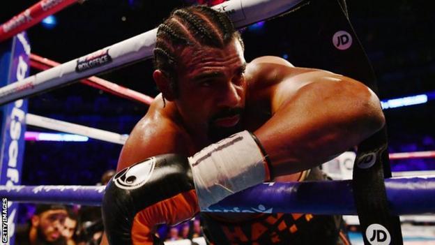 David Haye falls through the ropes