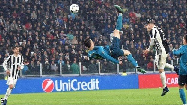Cristiano Ronaldo scores a sensational bicycle kick for Real Madrid against Juventus in the quarter-finals last season