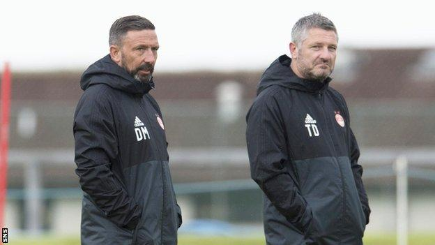 Aberdeen manager Derek McInnes and assistant Tony Docherty
