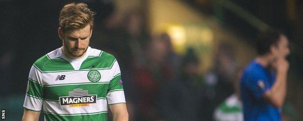 Celtic's Stuart Armstrong looks downhearted against Molde