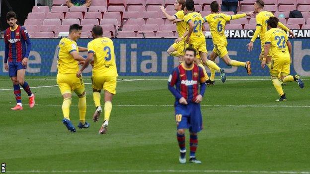 Cadiz celebrate against Barcelona