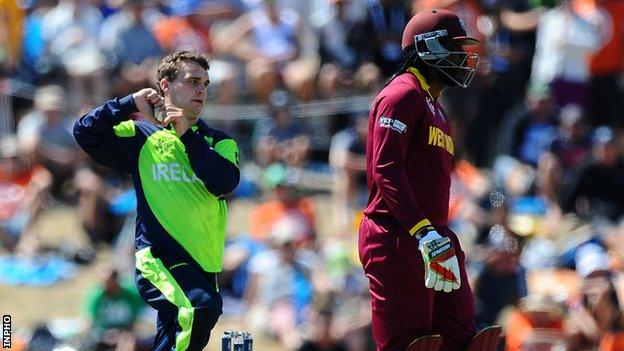 Andrew McBrine in action as Ireland beat the West Indies by four wickets at the Cricket World Cup