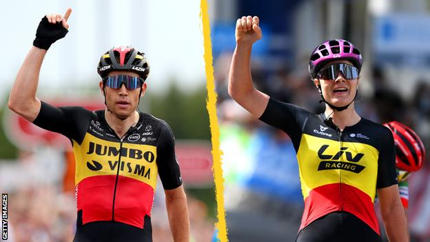 Belgian champions Wout van Aert (left) and Lotte Kopecky (right) celebrate victories