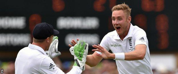 Stuart Broad (right) celebrates