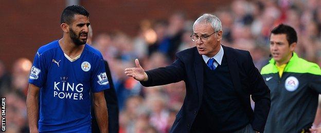 Riyad Mahrez (left) and Claudio Ranieri (right)