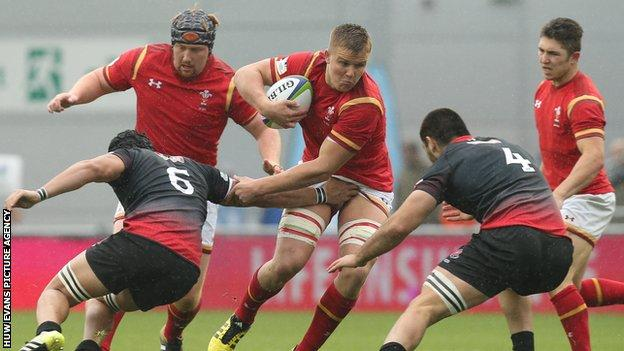 Wales' Shane Lewis-Hughes in action against Georgia